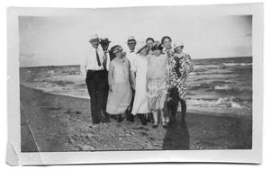 Primary view of object titled '[Group of Men and Women on the Beach]'.