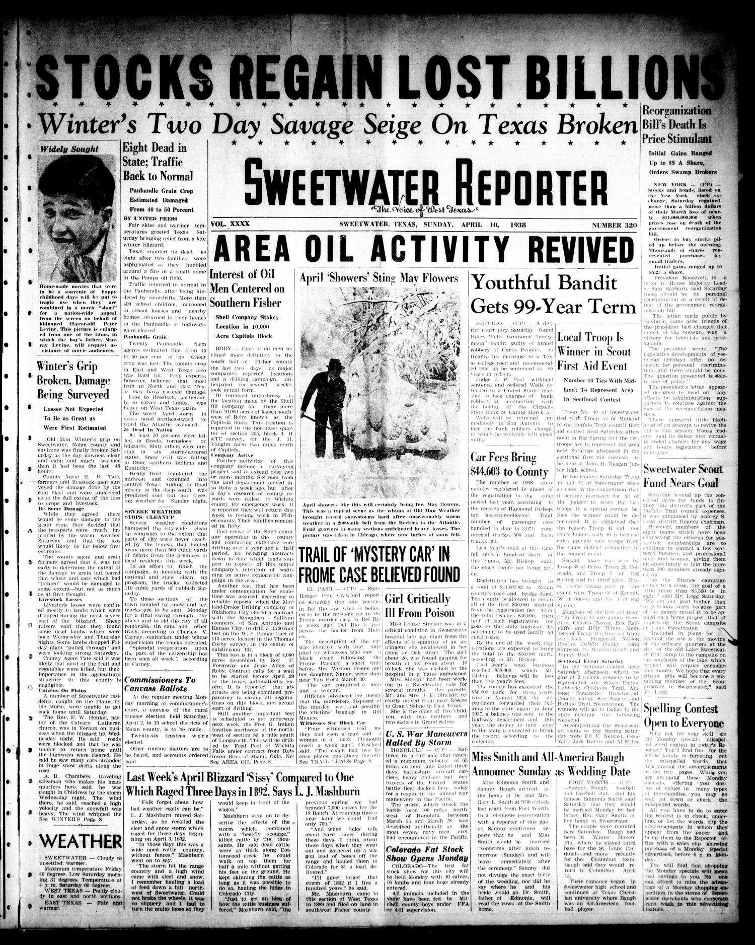 Sweetwater Reporter (Sweetwater, Tex.), Vol. 40, No. 320, Ed. 1 Sunday, April 10, 1938                                                                                                      [Sequence #]: 1 of 20