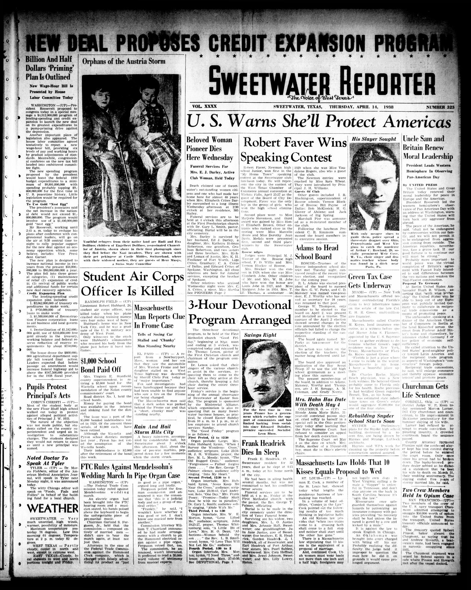 Sweetwater Reporter (Sweetwater, Tex.), Vol. 40, No. 323, Ed. 1 Thursday, April 14, 1938                                                                                                      [Sequence #]: 1 of 8