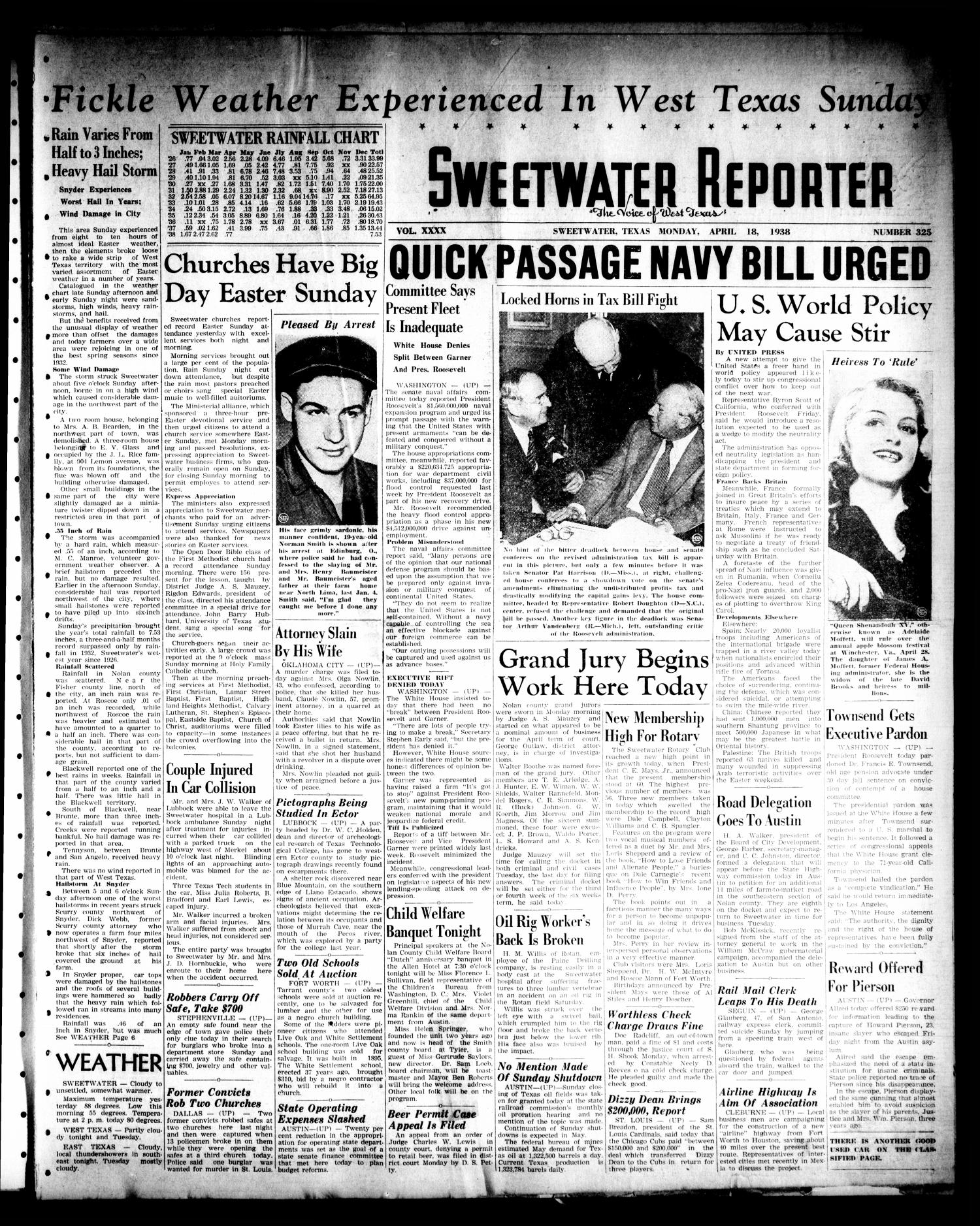 Sweetwater Reporter (Sweetwater, Tex.), Vol. 40, No. 325, Ed. 1 Monday, April 18, 1938                                                                                                      [Sequence #]: 1 of 8