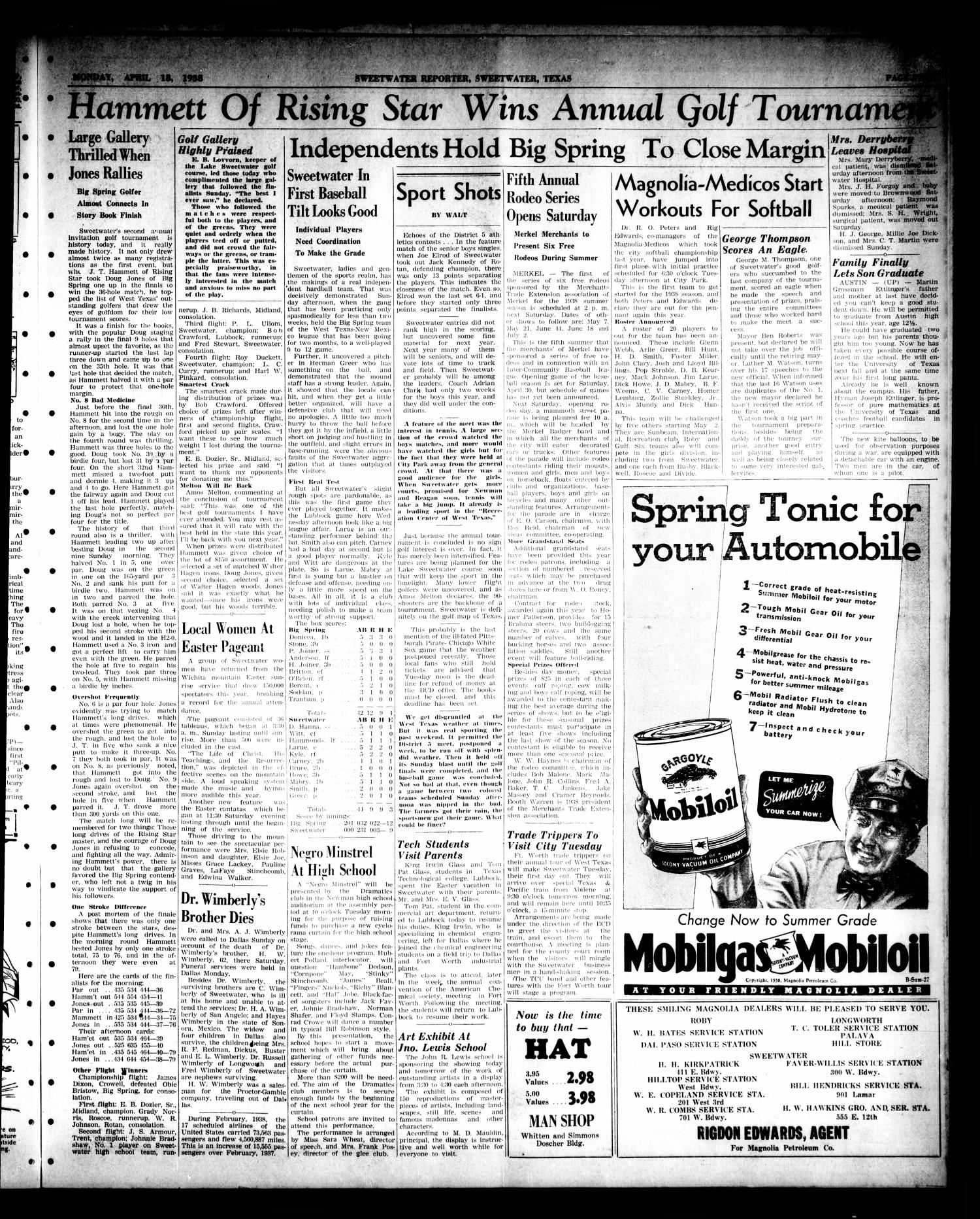 Sweetwater Reporter (Sweetwater, Tex.), Vol. 40, No. 325, Ed. 1 Monday, April 18, 1938                                                                                                      [Sequence #]: 5 of 8