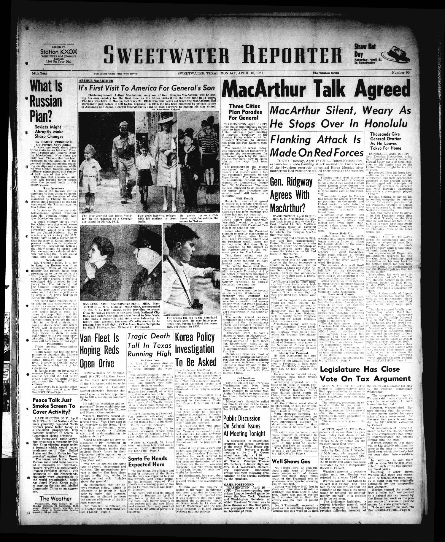 Sweetwater Reporter (Sweetwater, Tex.), Vol. 54, No. 90, Ed. 1 Monday, April 16, 1951                                                                                                      [Sequence #]: 1 of 8