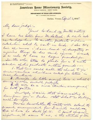 [Letter from C.I. Scofield to Judge David H. Scott, April 2, 1888]