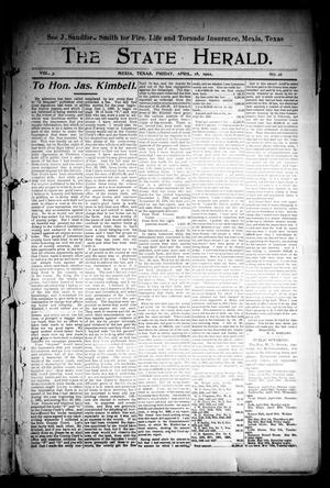 Primary view of object titled 'The State Herald (Mexia, Tex.), Vol. 3, No. 16, Ed. 1 Friday, April 18, 1902'.