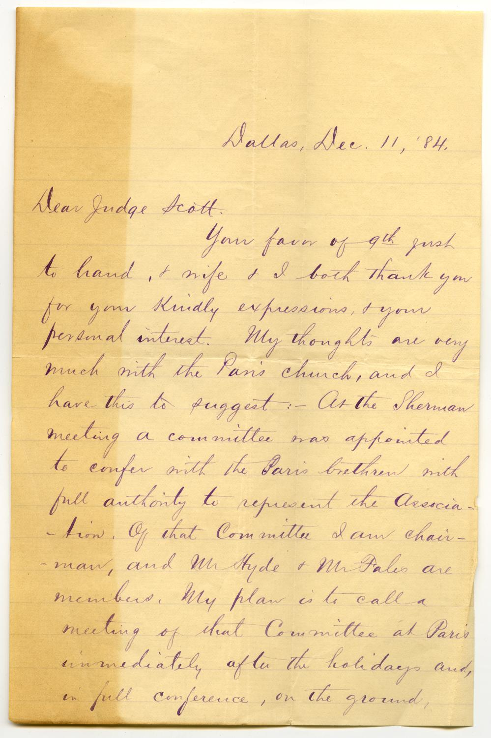 [Letter from C.I. Scofield to Judge David H. Scott, December 11, 1884]                                                                                                      [Sequence #]: 1 of 2