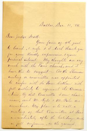 Primary view of object titled '[Letter from C.I. Scofield to Judge David H. Scott, December 11, 1884]'.
