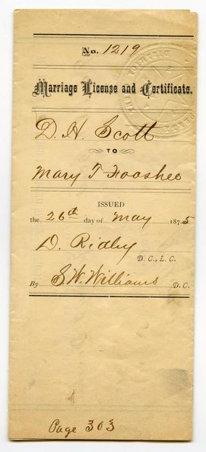 Primary view of object titled '[Marriage license of D.H. Scott and Mary Fooshee, May 26, 1875]'.