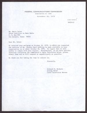 [Letter from Willard R. Nichols to Mario Marcel Salas - November 26, 1979]