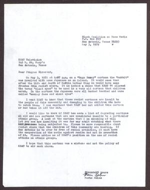 Primary view of object titled '[Letter from Mario Marcel Salas to KSAT Television - May 3, 1979]'.