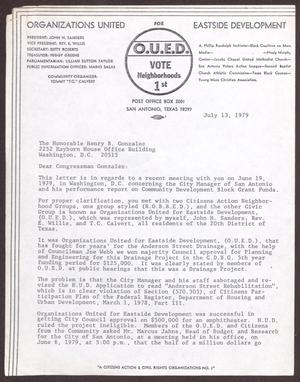 Primary view of object titled '[Letter from John H. Sanders to Henry B. Gonzalez - July 13, 1979]'.