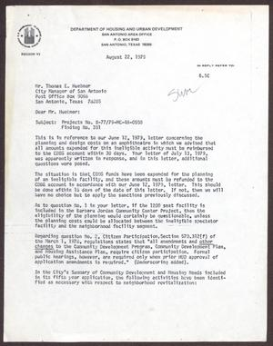 [Letter from Finnis E. Jolly to Thomas E. Huebner - August 22, 1979]