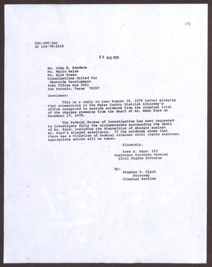 Primary view of object titled '[Letter from Drew S. Days to OUED Members - August 29, 1979]'.