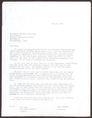 [Letter from OUED to Roy Barrera - May 30, 1979]