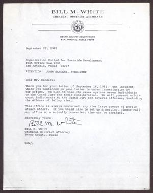 Primary view of object titled '[Letter from Bill M. White to John Sanders - September 22, 1981]'.