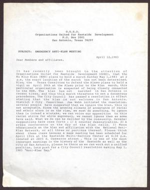 Primary view of object titled '[Letter from O.U.E.D. to Members and Affiliates - April 12, 1983]'.