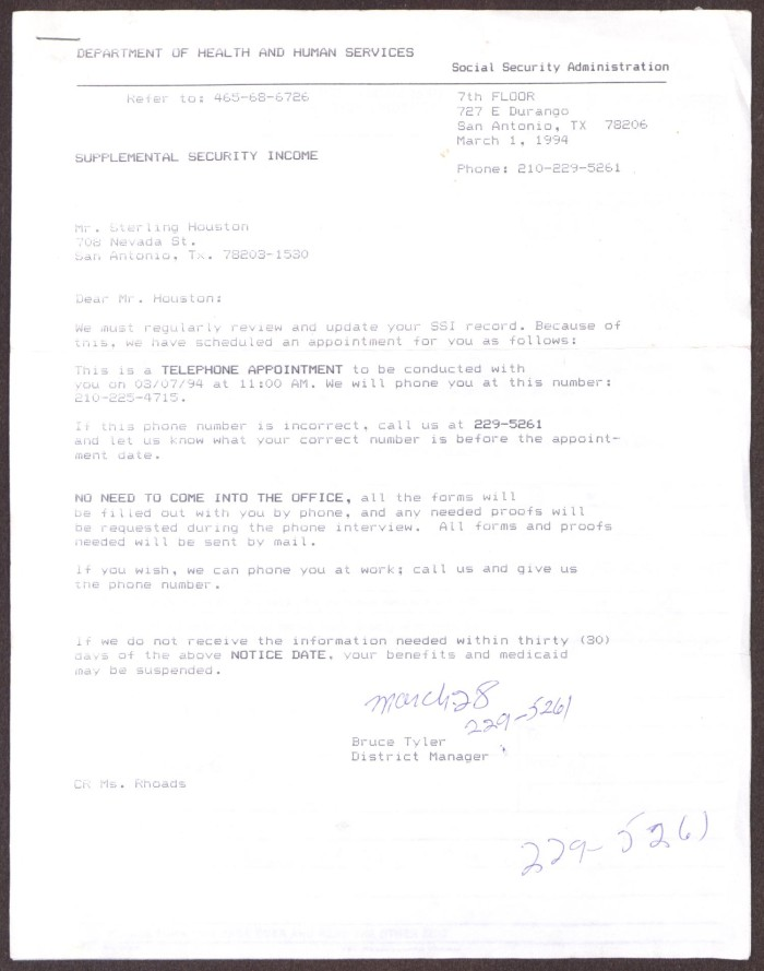 Primary View Of Object Titled U0027[Letter From Bruce Tyler To Sterling Houston    March