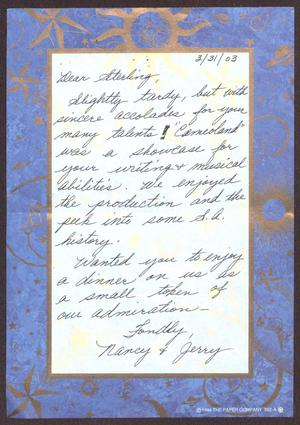 Primary view of object titled '[Letter from Nancy and Jerry to Sterling Houston - March 31, 2003]'.