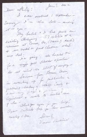 Primary view of object titled '[Letter from Vivian Rudisill to Sterling Houston - January 07, 2002]'.