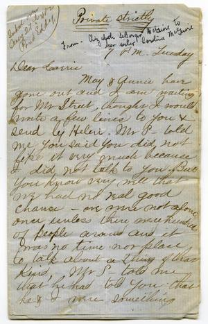 Primary view of object titled '[Letter from Elizabeth DeBarger McGuire to her sister Caroline]'.