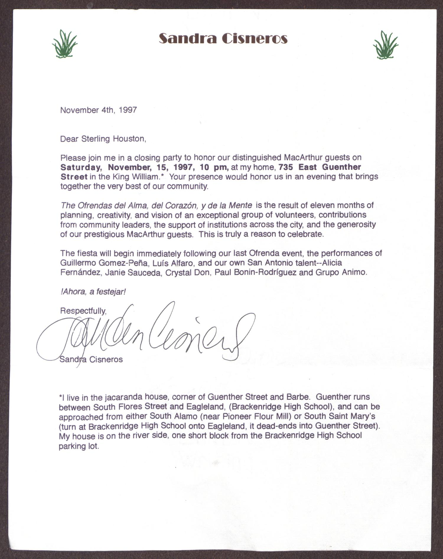 letter from sandra cisneros to sterling houston