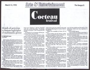 Primary view of object titled '[Arts & Entertainment Article in The Ranger Newspaper by Marshall Gause]'.