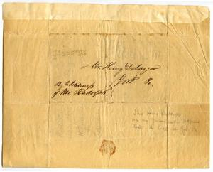 Primary view of object titled '[Letter to Henry DeBarger, March 29th, 1841]'.