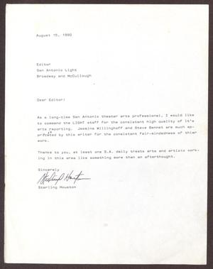 Primary view of object titled '[Letter from Sterling Houston to San Antonio Light Editor - August 15, 1990]'.