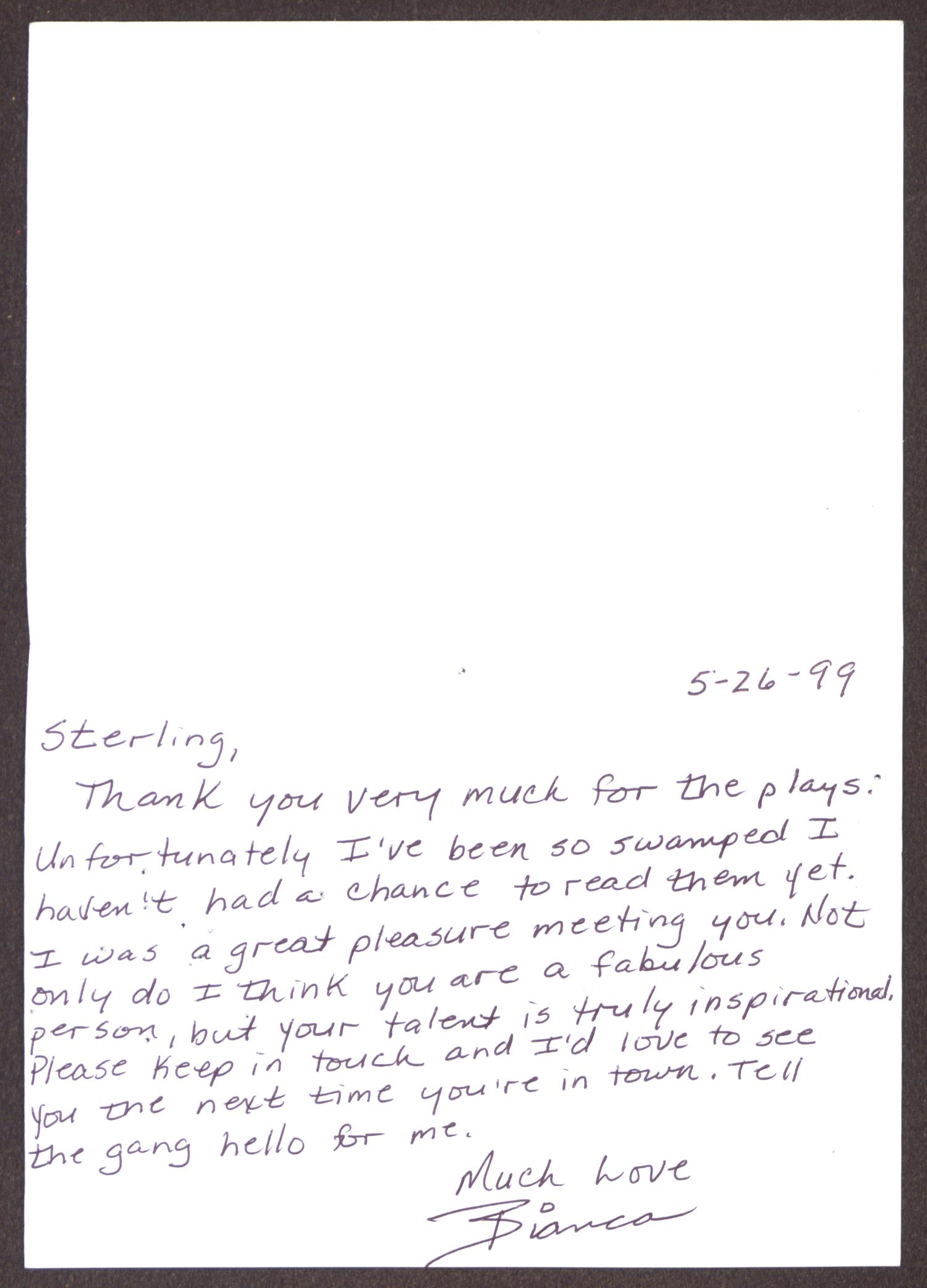 [Greeting Card from Bianca to Sterling Houston - May 26, 1999]                                                                                                      [Sequence #]: 2 of 3
