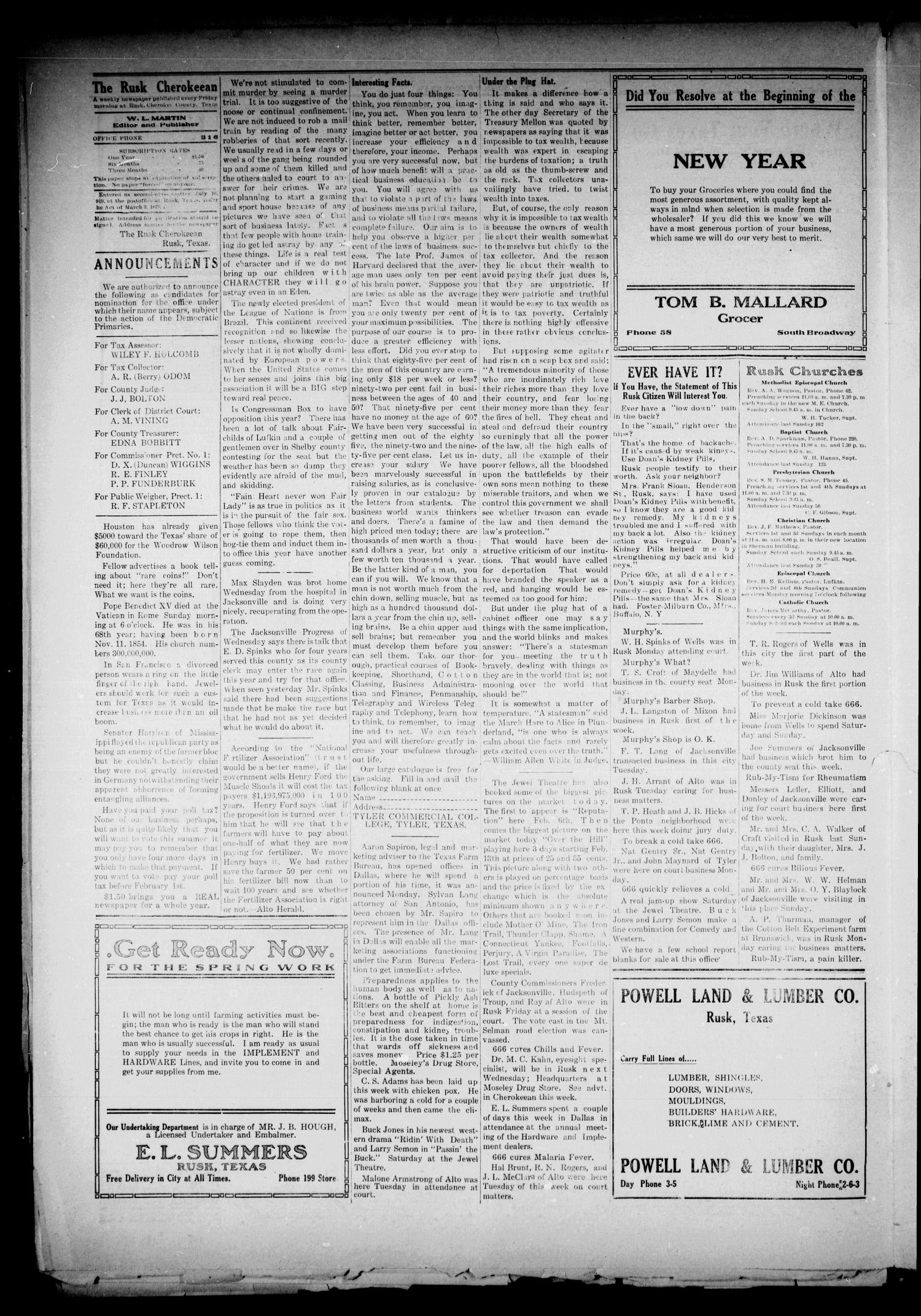 The Rusk Cherokeean (Rusk, Tex.), Vol. 3, No. 30, Ed. 1 Friday, January 27, 1922                                                                                                      [Sequence #]: 4 of 8