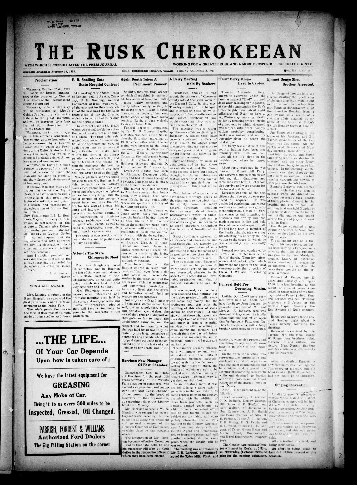 The Rusk Cherokeean (Rusk, Tex.), Vol. 11, No. 19, Ed. 1 Friday, October 18, 1929                                                                                                      [Sequence #]: 1 of 8