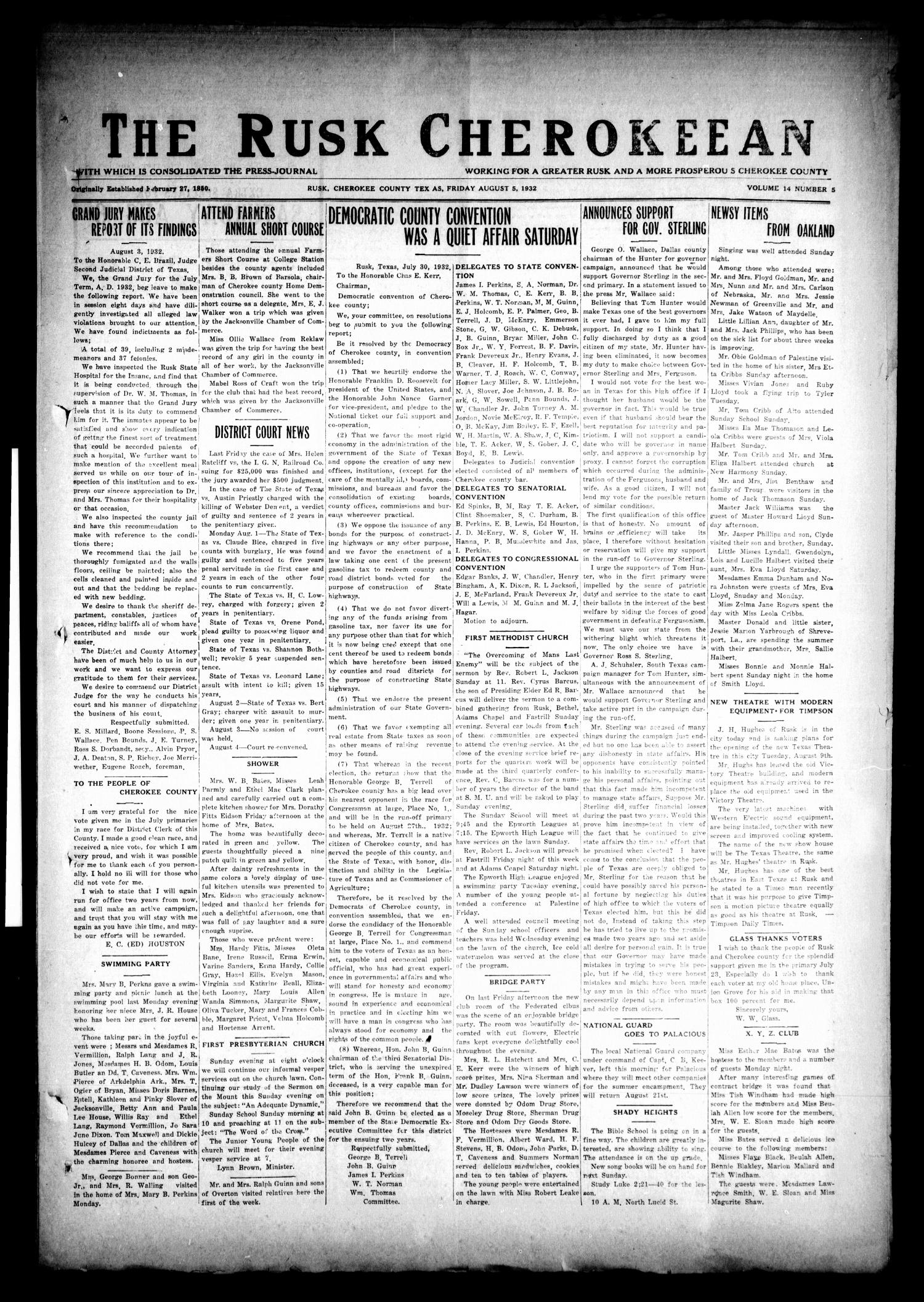 The Rusk Cherokeean (Rusk, Tex.), Vol. 14, No. 5, Ed. 1 Friday, August 5, 1932                                                                                                      [Sequence #]: 1 of 6