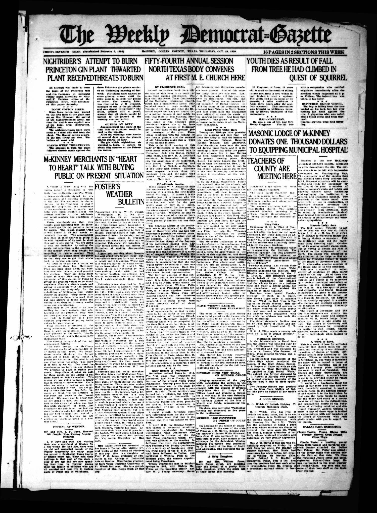 The Weekly Democrat-Gazette (McKinney, Tex.), Vol. 37, Ed. 1 Thursday, October 28, 1920                                                                                                      [Sequence #]: 1 of 16