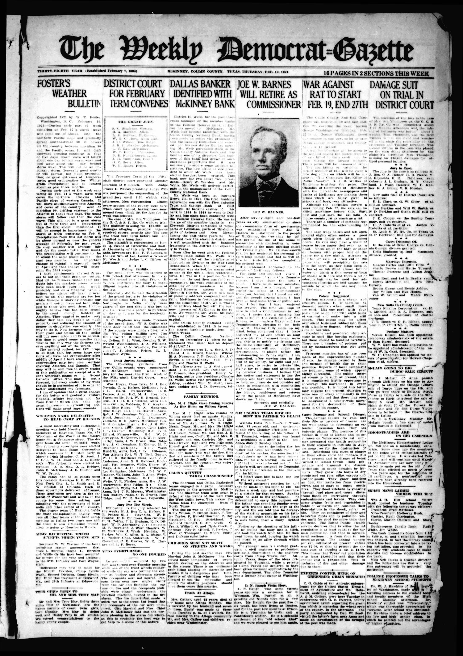 The Weekly Democrat-Gazette (McKinney, Tex.), Vol. 38, Ed. 1 Thursday, February 10, 1921                                                                                                      [Sequence #]: 1 of 16
