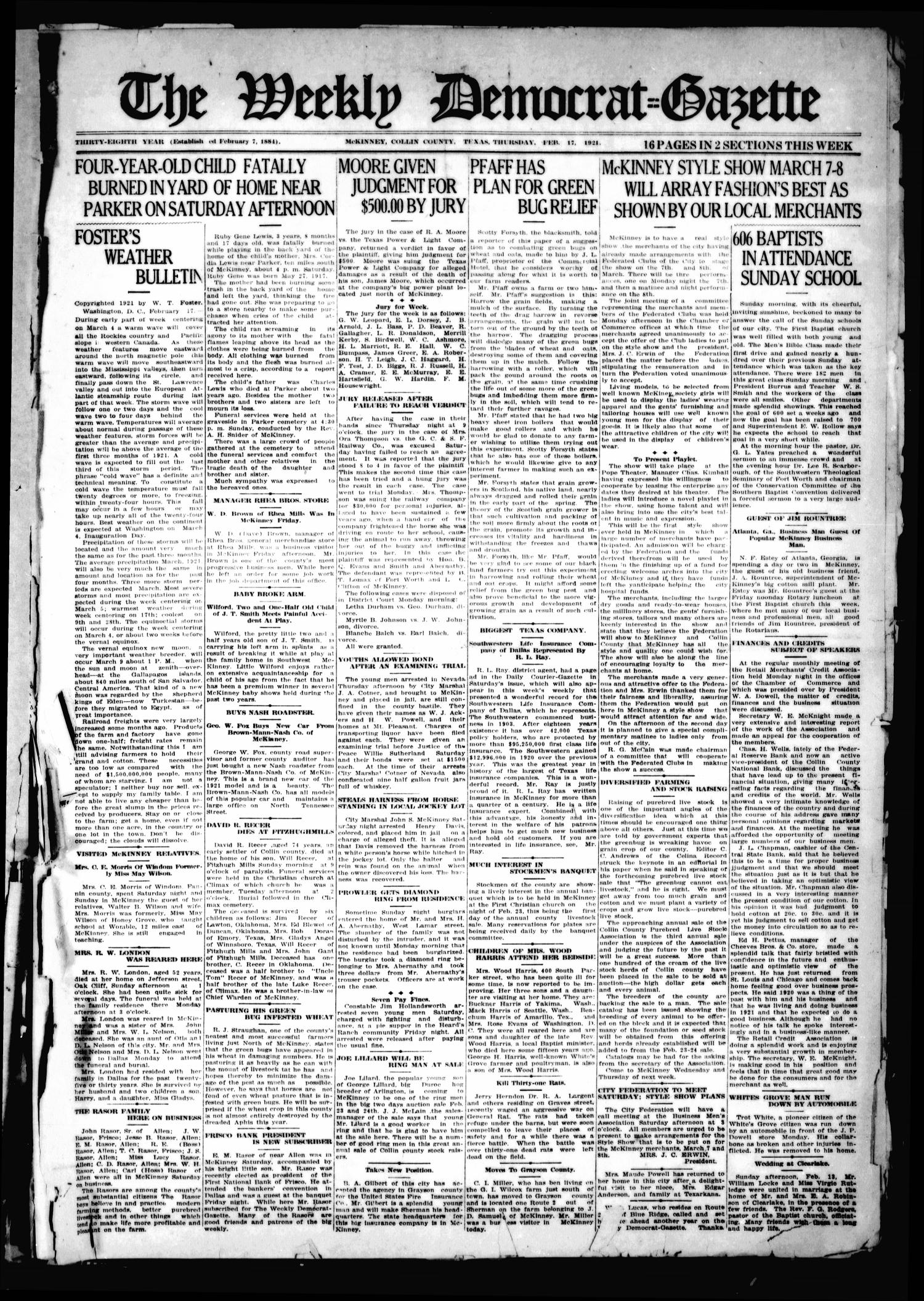 The Weekly Democrat-Gazette (McKinney, Tex.), Vol. 38, Ed. 1 Thursday, February 17, 1921                                                                                                      [Sequence #]: 1 of 16