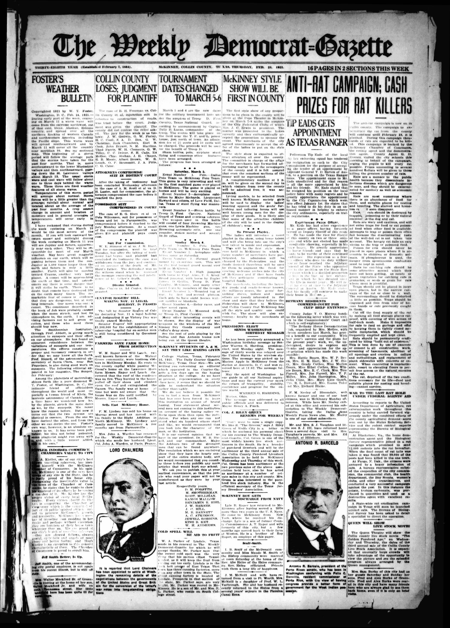 The Weekly Democrat-Gazette (McKinney, Tex.), Vol. 38, Ed. 1 Thursday, February 24, 1921                                                                                                      [Sequence #]: 1 of 16