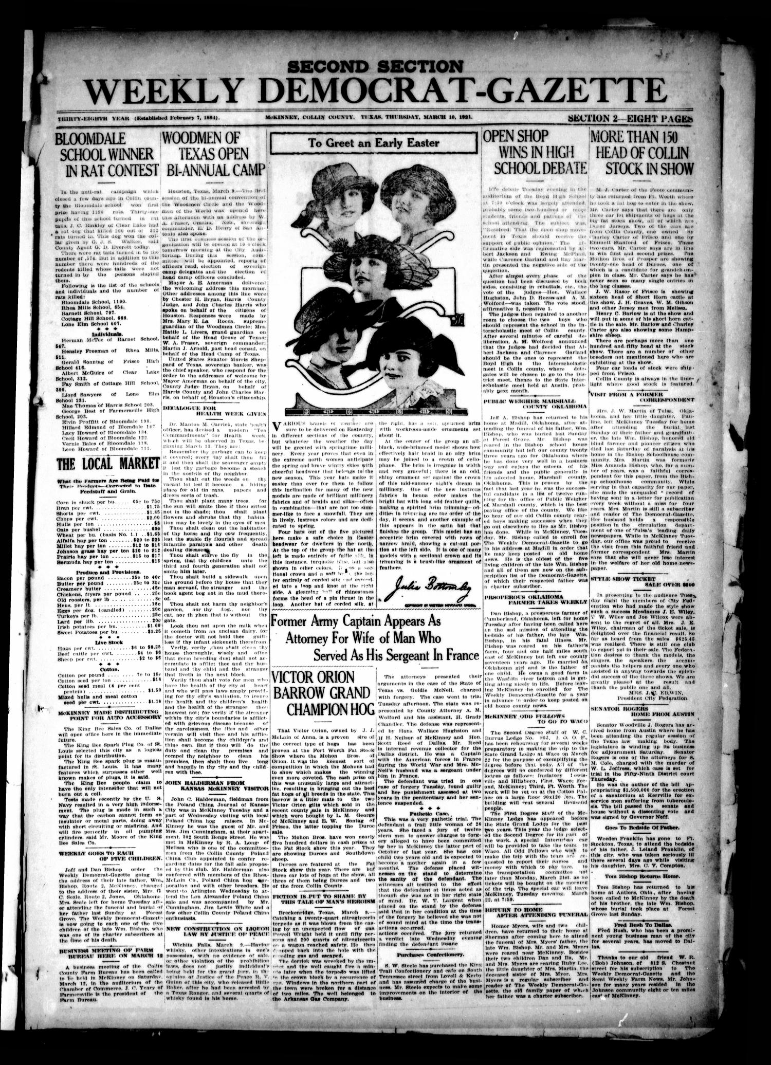 The Weekly Democrat-Gazette (McKinney, Tex.), Vol. 38, Ed. 1 Thursday, March 10, 1921                                                                                                      [Sequence #]: 1 of 16