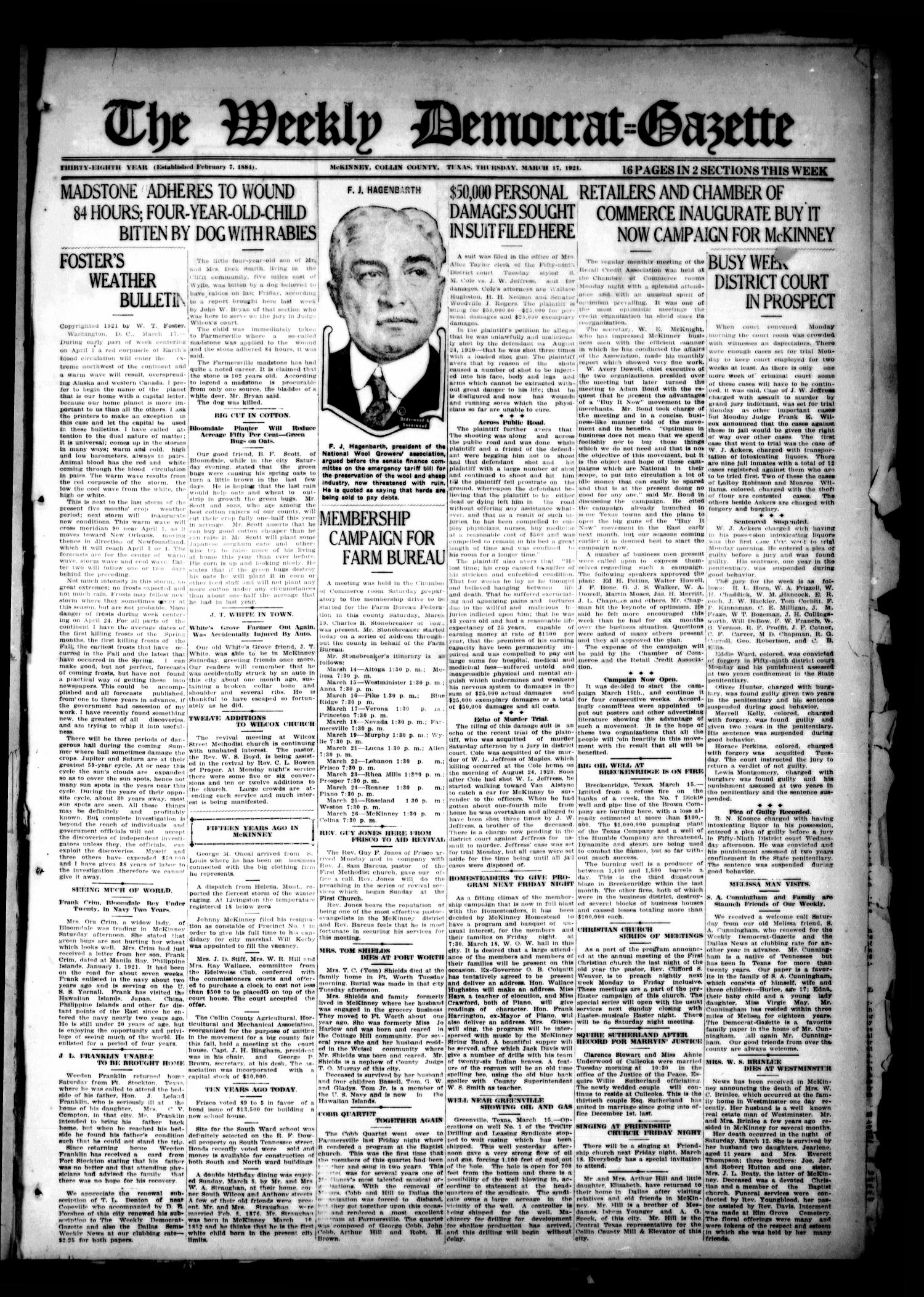 The Weekly Democrat-Gazette (McKinney, Tex.), Vol. 38, Ed. 1 Thursday, March 17, 1921                                                                                                      [Sequence #]: 1 of 16