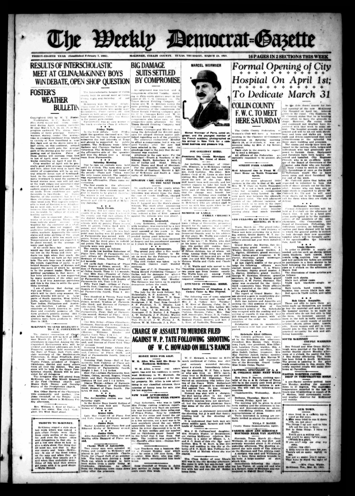 The Weekly Democrat-Gazette (McKinney, Tex.), Vol. 38, Ed. 1 Thursday, March 24, 1921                                                                                                      [Sequence #]: 1 of 16