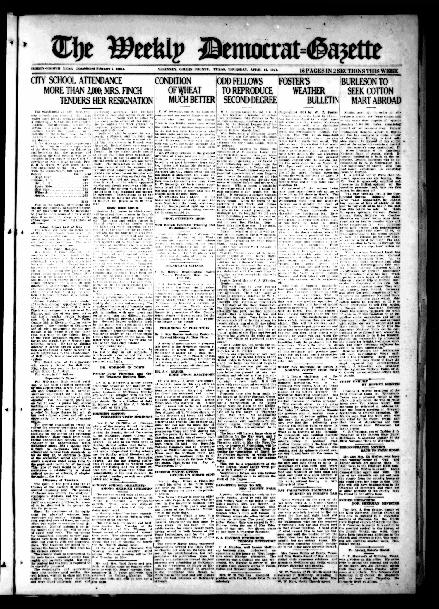 The Weekly Democrat-Gazette (McKinney, Tex.), Vol. 38, Ed. 1 Thursday, April 14, 1921                                                                                                      [Sequence #]: 1 of 16