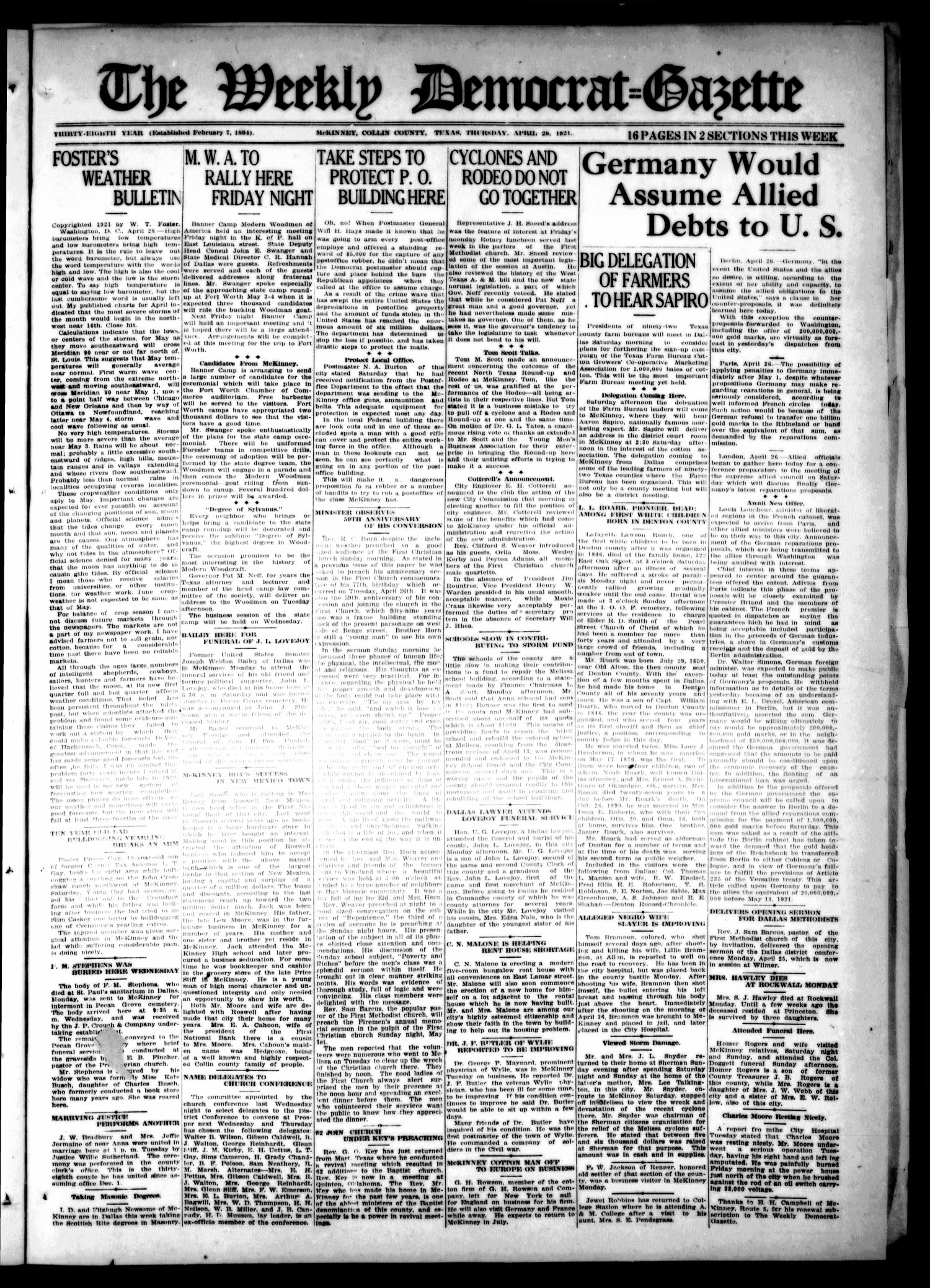 The Weekly Democrat-Gazette (McKinney, Tex.), Vol. 38, Ed. 1 Thursday, April 28, 1921                                                                                                      [Sequence #]: 1 of 16
