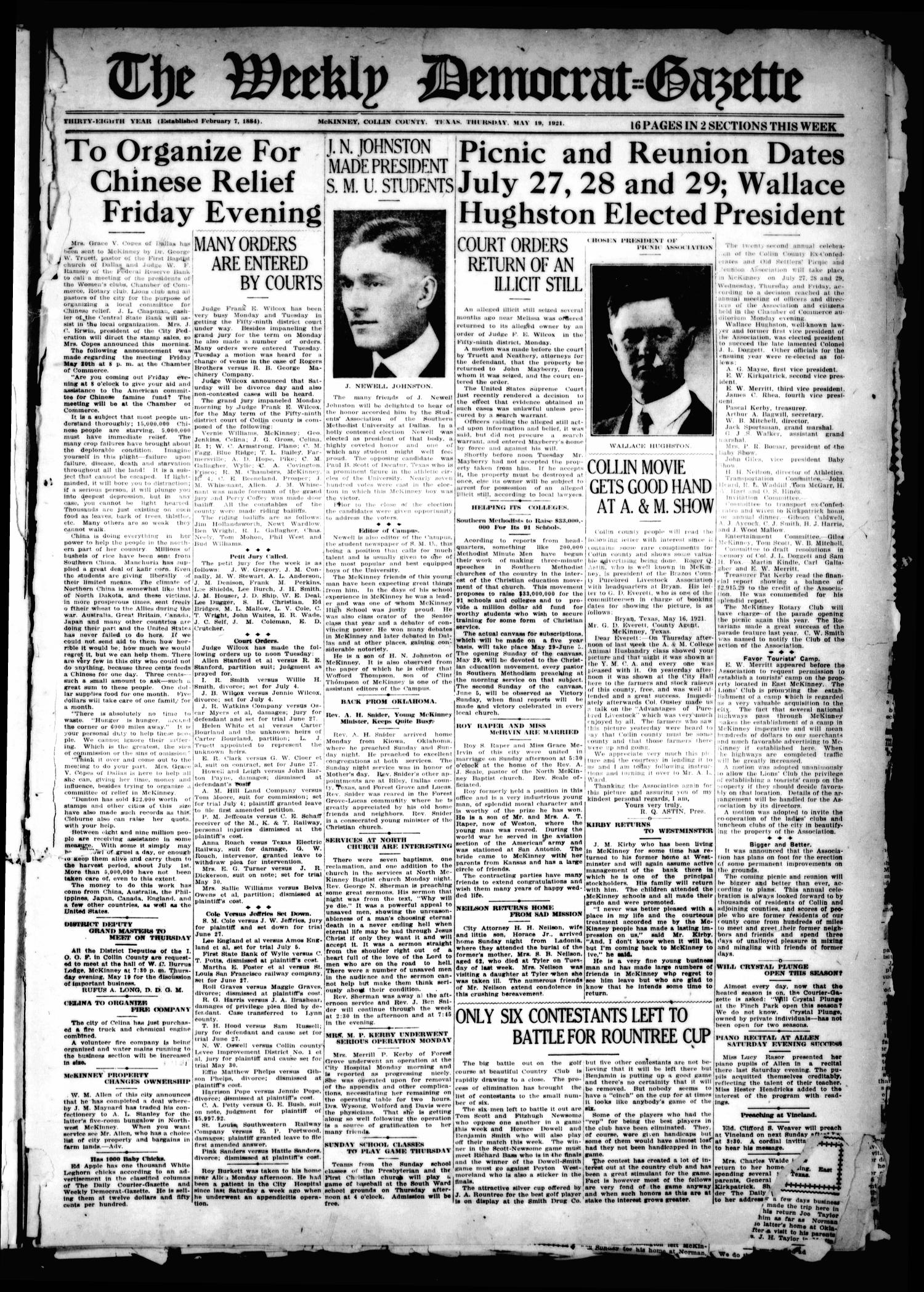 The Weekly Democrat-Gazette (McKinney, Tex.), Vol. 38, Ed. 1 Thursday, May 19, 1921                                                                                                      [Sequence #]: 1 of 16
