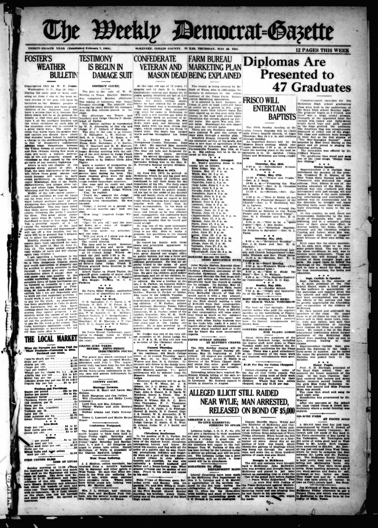 The Weekly Democrat-Gazette (McKinney, Tex.), Vol. 38, Ed. 1 Thursday, May 26, 1921                                                                                                      [Sequence #]: 1 of 12