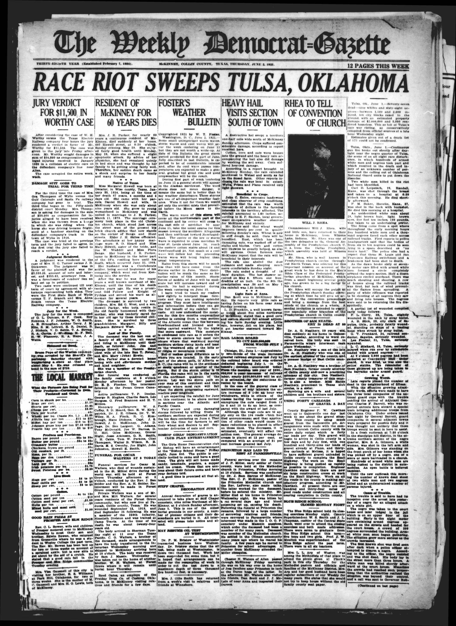The Weekly Democrat-Gazette (McKinney, Tex.), Vol. 38, Ed. 1 Thursday, June 2, 1921                                                                                                      [Sequence #]: 1 of 12