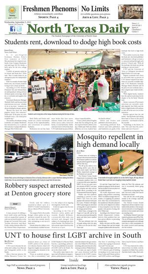Primary view of object titled 'North Texas Daily (Denton, Tex.), Vol. 100, No. 4, Ed. 1 Wednesday, September 5, 2012'.