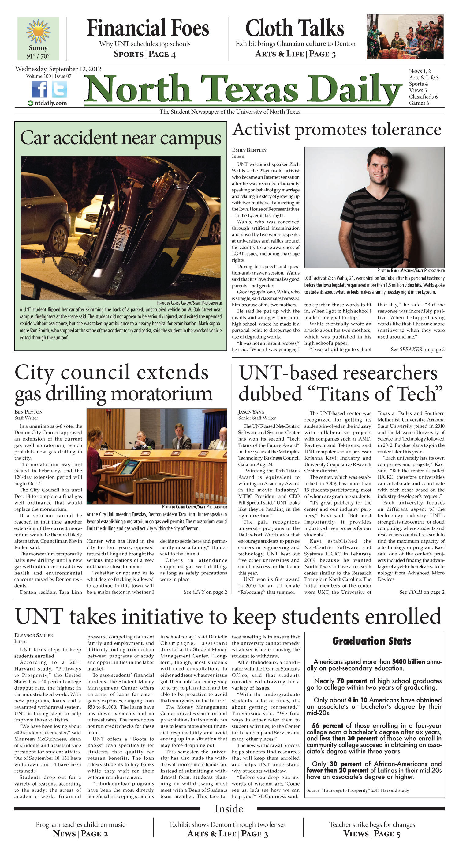 North Texas Daily (Denton, Tex.), Vol. 100, No. 7, Ed. 1 Wednesday, September 12, 2012                                                                                                      [Sequence #]: 1 of 6