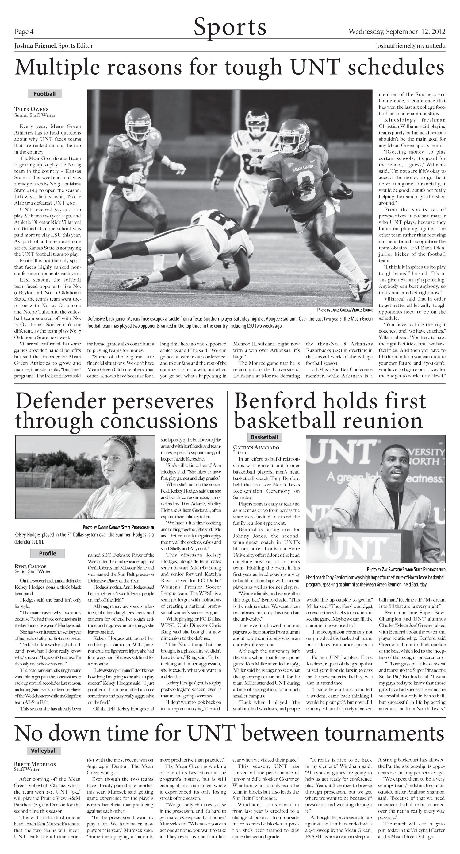 North Texas Daily (Denton, Tex.), Vol. 100, No. 7, Ed. 1 Wednesday, September 12, 2012                                                                                                      [Sequence #]: 4 of 6