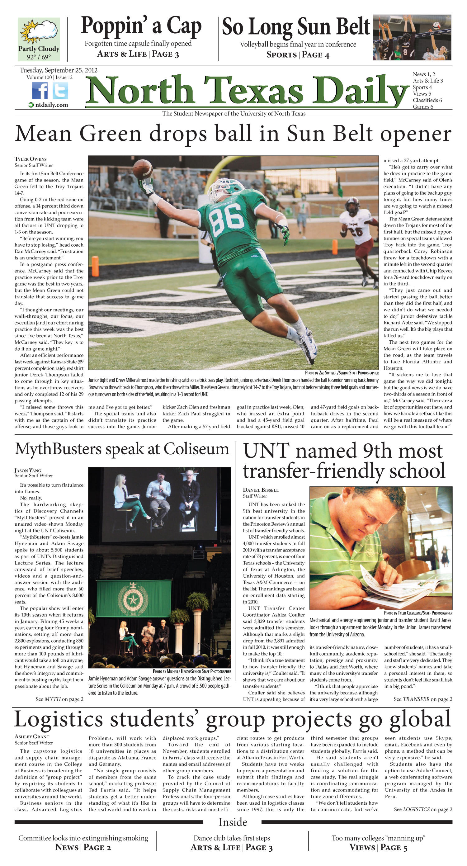 North Texas Daily (Denton, Tex.), Vol. 100, No. 12, Ed. 1 Tuesday, September 25, 2012                                                                                                      [Sequence #]: 1 of 6
