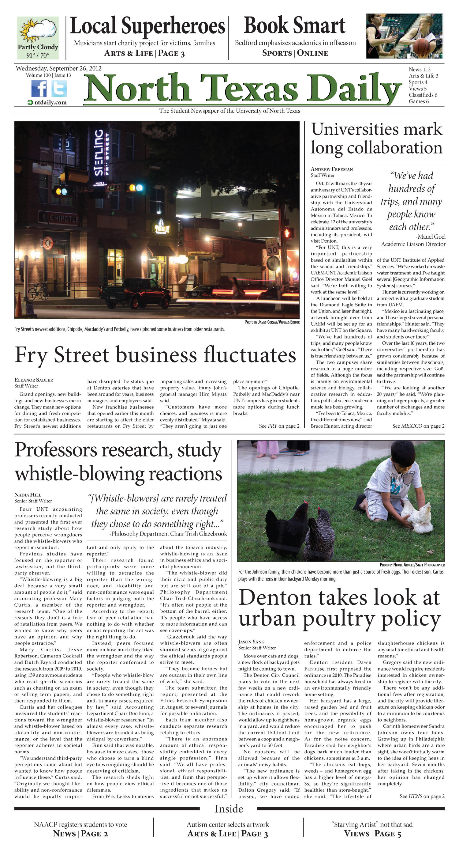 North Texas Daily (Denton, Tex.), Vol. 100, No. 13, Ed. 1 Wednesday, September 26, 2012                                                                                                      [Sequence #]: 1 of 6