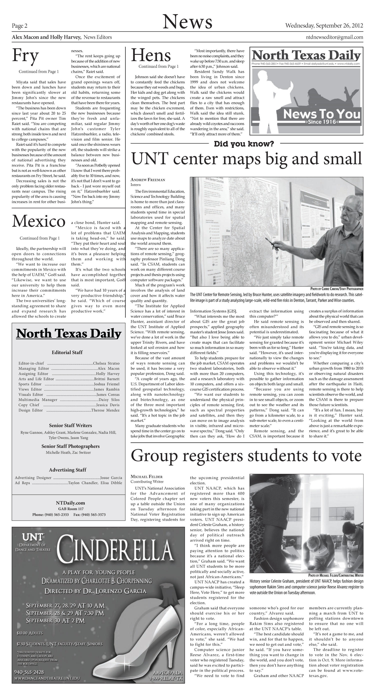 North Texas Daily (Denton, Tex.), Vol. 100, No. 13, Ed. 1 Wednesday, September 26, 2012                                                                                                      [Sequence #]: 2 of 6