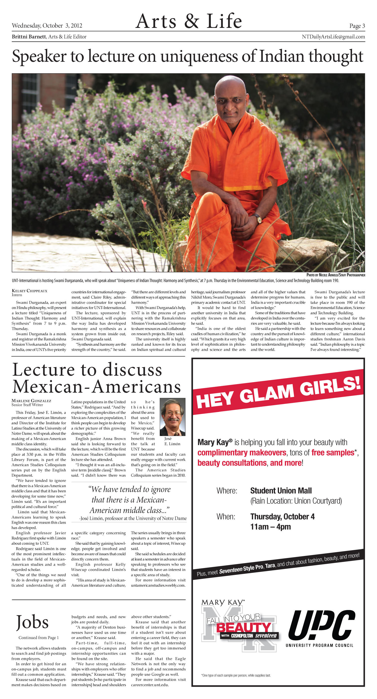 North Texas Daily (Denton, Tex.), Vol. 100, No. 16, Ed. 1 Wednesday, October 3, 2012                                                                                                      [Sequence #]: 3 of 6